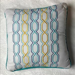 Other - White pillow with multi colored link pattern